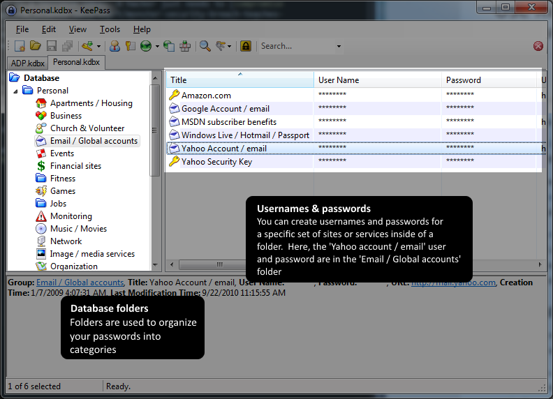 Keepass main screen